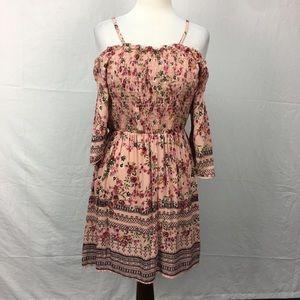 Angie Pink Cold Shoulder Floral Print Dress